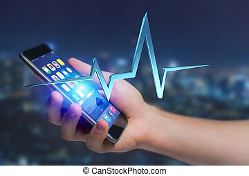 3d rendering heart beat line on a futuristic interface
