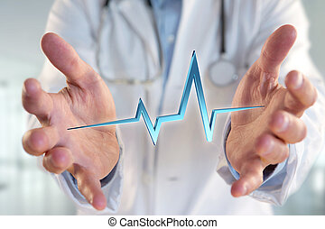 3d rendering heart beat line on a medical background
