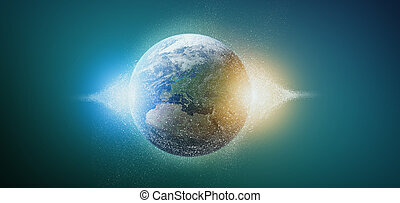 3d rendering particles earth globe