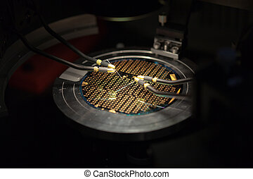 View of a beautiful microchip wafer - Isometric perspective ...