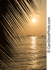 View of a beautiful tropical sunset over the sea