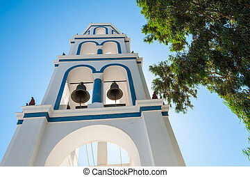 View of a bell tower in Santorini