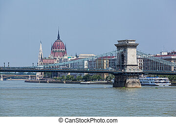 View of a building of the Hungarian parliament, Danube and chain Secheni Bridge