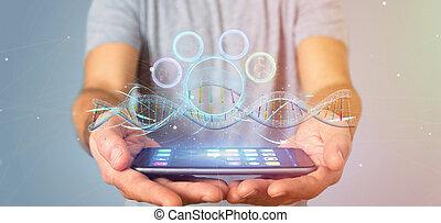 Businessman holding a 3d render DNA