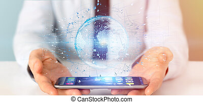 Businessman holding a 3d rendering data earth globe