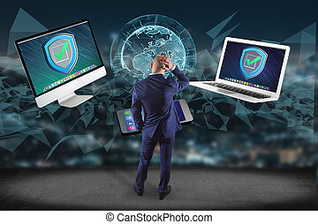 Businessman in front of a wall with security shield symbol...
