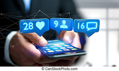 Businessman using a smartphone with a Like, Follower and ...