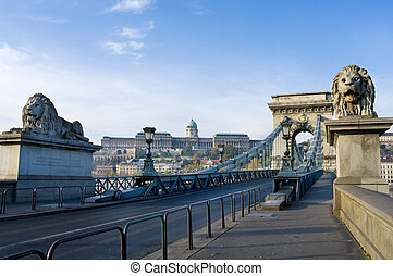 View of a chain bridge in Budapest