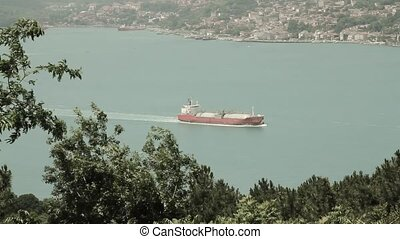 View of a chemical tanker ship