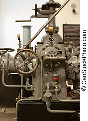 View of a classic 1934 industrial hydroelectric generator engine...