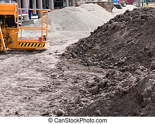 View of a construction  site with soil
