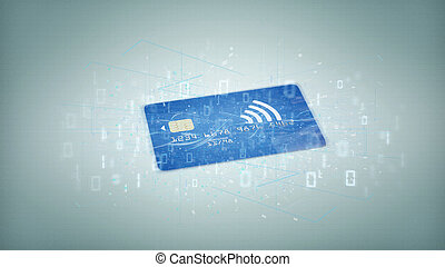 Contactless credit card payment concept on a background 3d...