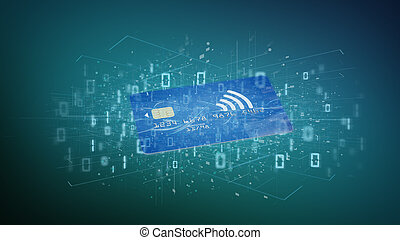 Contactless credit card payment concept on a background 3d rendering