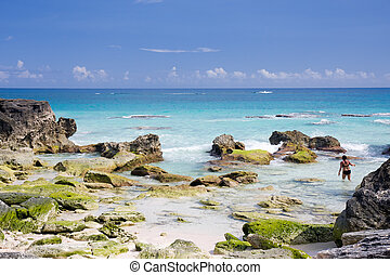 View of a deserted beach in Bermuda