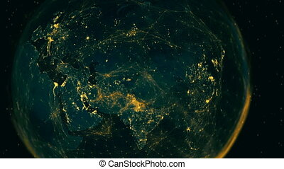 View of a digitally connected eastern hemisphere. - A ...