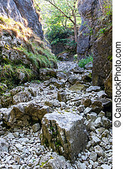 View of a dry river bed near the village of Conistone in the Yorkshire Dales National Park