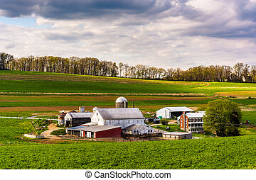 View of a farm in rural York County, Pennsylvania.