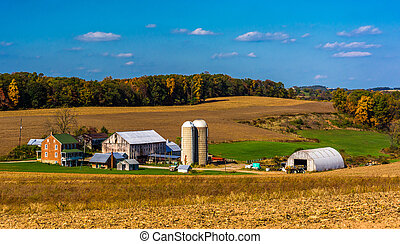 View of a farm in the rural countryside of York County, Pennsylvania.