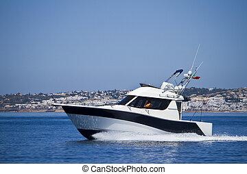 yatch speeding on the water
