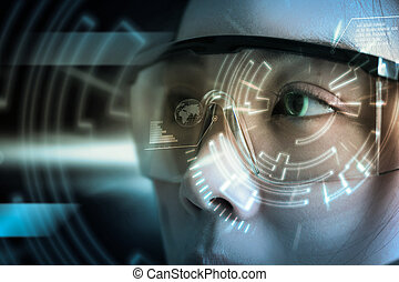 View of a Futuristic eye technology user interface with scan.