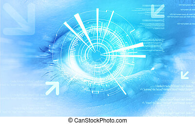 Futuristic technology user interface with an user eye on the...