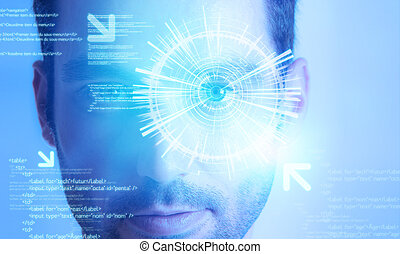 Futuristic technology user interface with an user eye on the background
