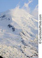 glacier - view of a glacier in the Alps, Mont Blanc ...