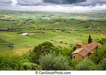 View of a green valley in Montepulciano, Italy