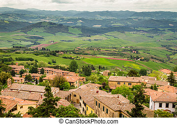 View of a green valley in Volterra, Italy
