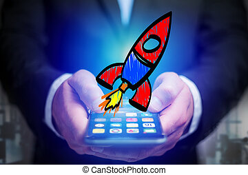 Hand drawn colorful rocket icon displayed on a futuristic interface - Business concept
