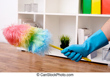 View of a hand dusting a room