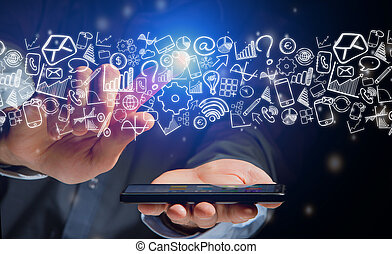 Hand of a man holding smartphone with business icons all around