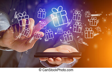 Hand of a man holding smartphone with christmas icons all around