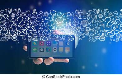 Hand of a man holding smartphone with internet icons all around