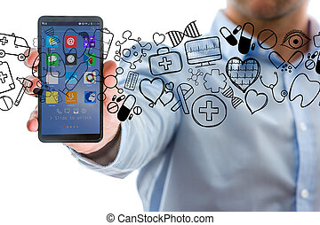 Hand of a man holding smartphone with medical icons all around