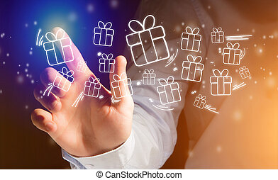 Hand of a man touching futuristic interface with christmas icons