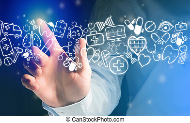 Hand of a man touching futuristic interface with medical icons all around