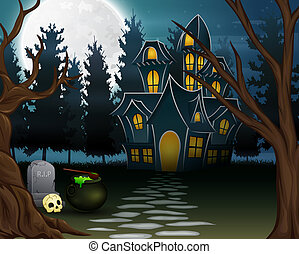 View of a haunted house with the background of a full moon