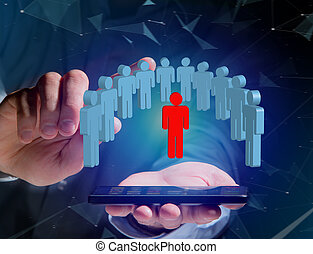 Intruder in a group of network people - Business and contact concept