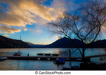 View of a jetty on Lake Como Italy