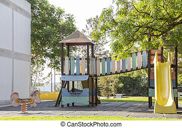 Kids playgroung slide in park