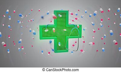 Lighting pharmacy cross and a stethoscope surrounding by pills - 3d render