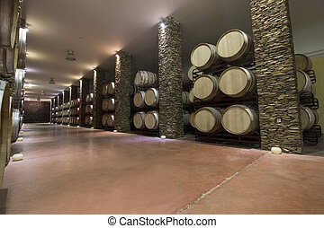 long cellar with wine barrels