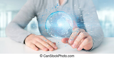 Man holding a 3d rendering data earth globe