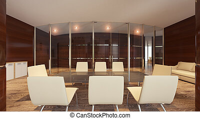 View of a meeting room in a modern office.