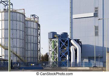 view of a modern factory gas tank