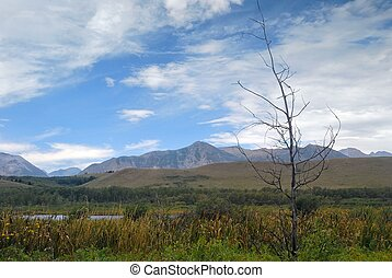 Waterton National Park in Canada - View of a mountain range...