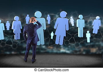 Network connection with people linked each other - 3D rendering