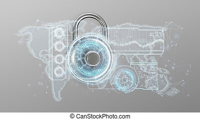 Padlock security technology interface isolated on a background 3d rendering