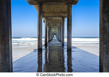 View Of A Pier With Waves Crashing Into The Structure